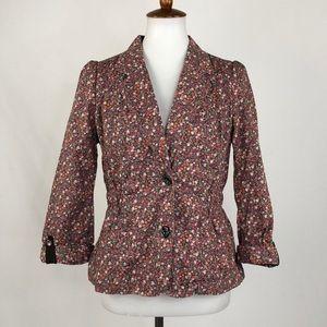 Anthropologie ETT TWA Floral Print Jacket, Size 10